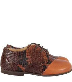 GALLUCCI KIDS Brown boy shoes with python print