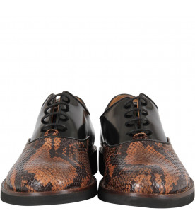 GALLUCCI KIDS Black boy shoes with pythoned details