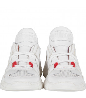 GALLUCCI KIDS White kids sneaker with red detail