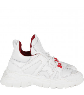 White kids sneaker with red detail