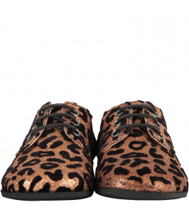 GALLUCCI KIDS Salmon boy shoes with animalier print