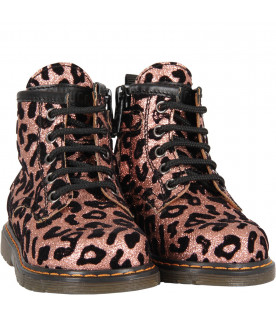 Pink girl amphibious shoes with animalier print