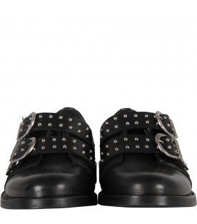 GALLUCCI KIDS Black girl shoes with silver studs