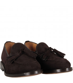Brown mocassin with tassels for boy