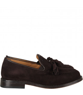 GALLUCCI KIDS Brown boy mocassin with tassels