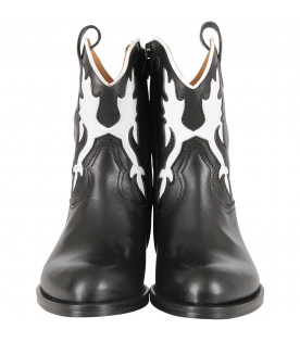 GALLUCCI KIDS White and black girl texan boot