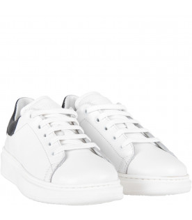 White kids sneakers with blue details