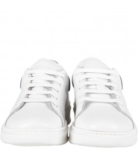 GALLUCCI KIDS White kids sneakers with blue details