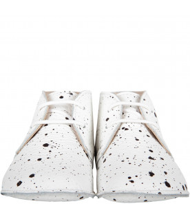 GALLUCCI KIDS White babykids shoes with black spotted