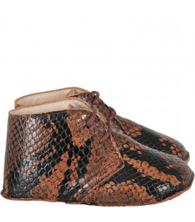GALLUCCI KIDS Brown babyboy shoes with pythoned print