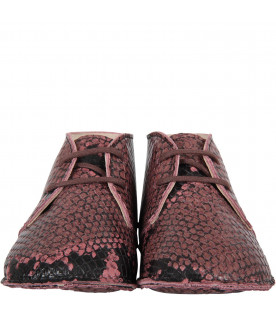 GALLUCCI KIDS Pink babygirl shoes with pythoned print