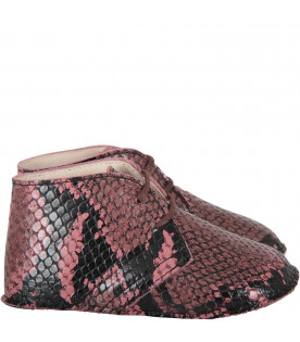 Pink babygirl shoes with pythoned print
