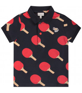 PAUL SMITH JUNIOR Blue babyboy polo shirt with rackets