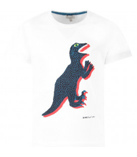 PAUL SMITH JUNIOR White boy T-shirt with iconic dinosaur and black logo
