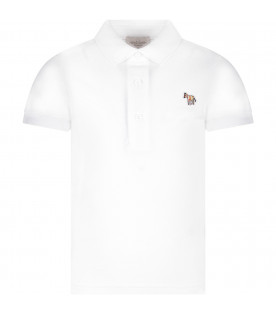 PAUL SMITH JUNIOR White boy polo shirt with zebra