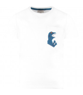 PAUL SMITH JUNIOR White boy T-shirt with iconic dinosaur