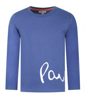 PAUL SMITH JUNIOR Blue boy T-shirt with orange and white logo
