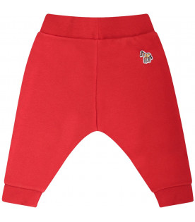 PAUL SMITH JUNIOR Red babyboy sweatpants with colorful patch