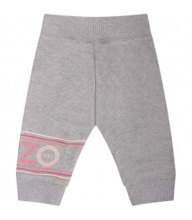 KENZO KIDS Grey babygirl sweatpants with pink and fucshia logo