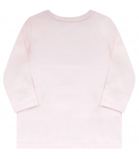 KENZO KIDS Pink babygirl T-shirt with pink logo and animals