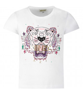 KENZO KIDS White girl T-shirt with iconic tiger and gold logo