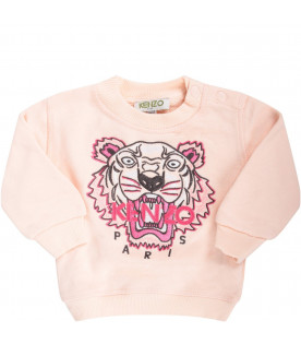 KENZO KIDS Pink babygirl sweatshirt with iconic tiger and fucshia logo