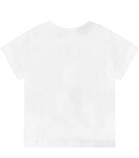 KENZO KIDS White babyboy T-shirt with iconic tiger and blue logo