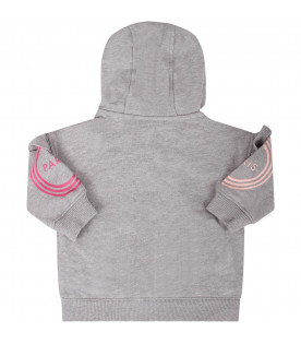 KENZO KIDS Grey babygirl sweatshirt with pink and fucshia logo