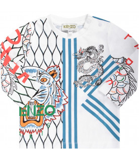 KENZO KIDS White babyboy T-shhirt with iconic tiger and japanese dragon