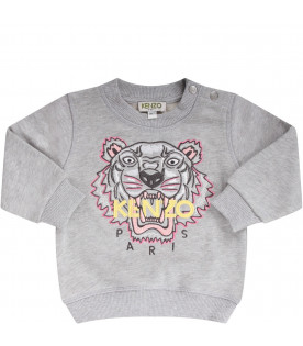 KENZO KIDS Grey babygirl sweatshirt with iconic tiger and yellow logo