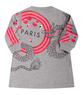 KENZO KIDS Grey babygirl dress with iconic tiger and japanese dragons
