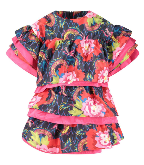 KENZO KIDS Multicolor girl dress with colorful flowers and japanese dragons