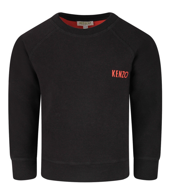 KENZO KIDS Black boy sweatshirt with japanese dragon and red logo