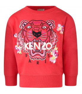 KENZO KIDS Red girl sweatshirt with iconic tiger and flowers