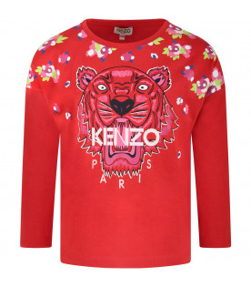 KENZO KIDS Red girl T-shirt with iconic tiger and pink logo