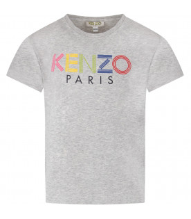 KENZO KIDS Grey kids T-shirt with colorful logo