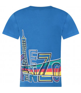 KENZO KIDS Neon blue boy T-shirt with colorful logo
