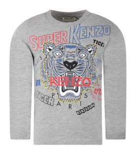 KENZO KIDS Grey boy T-shirt with iconic tiger and red logo