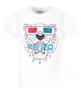 KENZO KIDS White boy T-shirt with iconic tiger with 3D effect