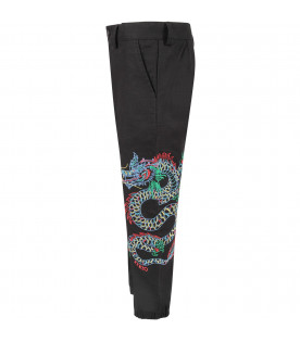 Black boy pants with colorful dragon japanese and red logo
