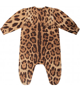 DOLCE & GABBANA KIDS Brown babykids babygrow with animalier print
