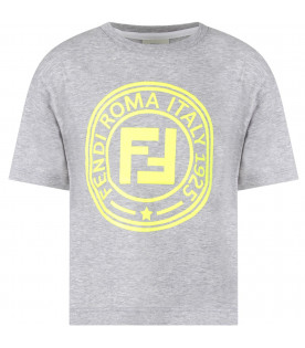 FENDI KIDS Grey boy T-shirt with neon yellow double FF