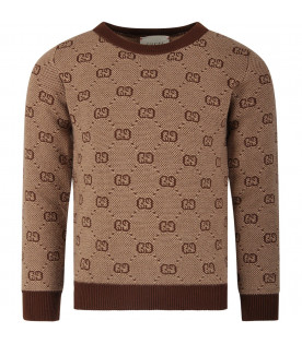GUCCI KIDS Beige girl sweater with brown iconic GG