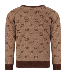 Beige girl sweater with brown iconic GG