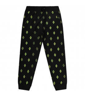 Black boy sweatpants with neon yellow cross