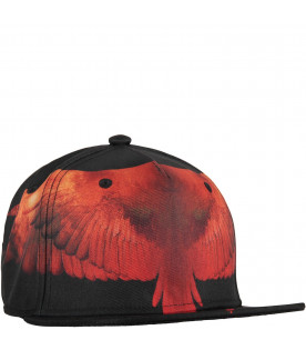 Black kids hat with red wings