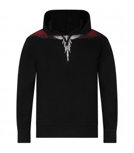 Black boy sweatshirt with white, red and grey iconic wings
