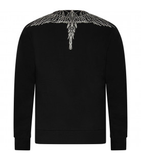 Black boy sweatshirt with white iconic wings