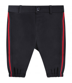 GUCCI KIDS Blue babyboy pants with white logo