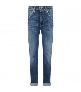 DONDUP KIDS Jeans ''George'' celeste per bambino con iconica D